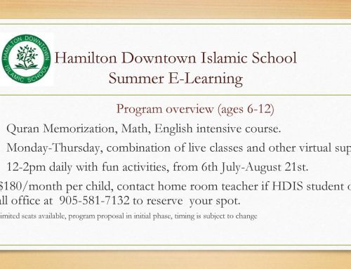 Hamilton Downtown Islamic School Summer E Learning